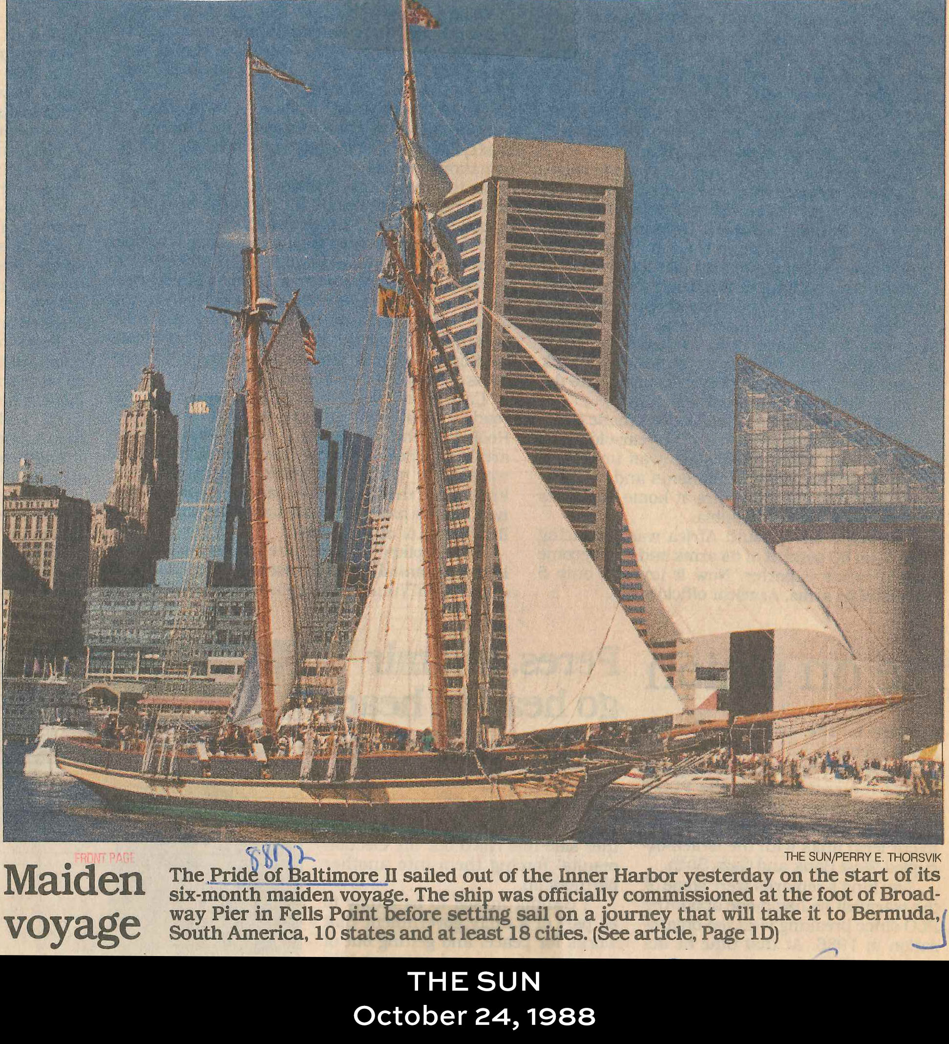 Pride of Baltimore featured in the Baltimore Sun on October 24, 1988