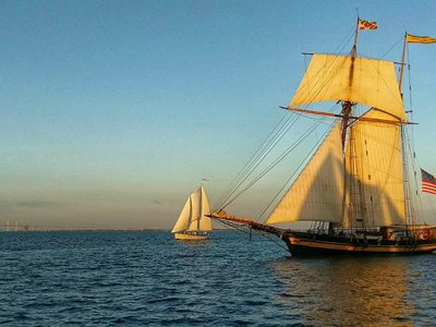 Pride of Baltimore II sailing off Annapolis, September 29, 2017, by Charlotte Faraci