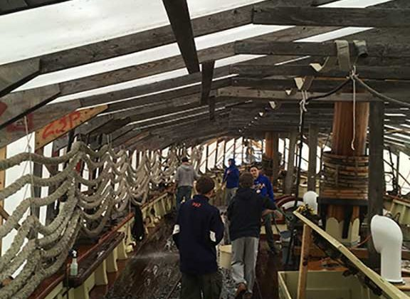 Boy Scout Troop 35 kicking off winter maintenance on Pride of Baltimore II on Nov., 3, 2018.