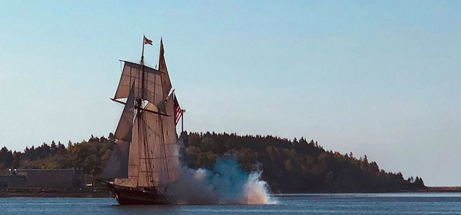 Pride of Baltimore II arriving in Lunenburg, Nova Scotia, June 11, 2019, courtesy of Out the Gate Sailing