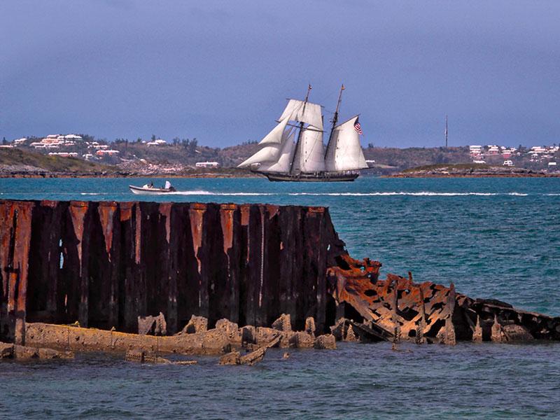 Pride of Baltimore II in Hamilton Harbor, Bermuda, June 1, 2017, courtesy of Theresa Airy