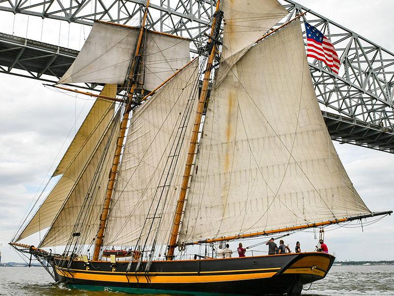 Sailing under the Key Bridge, May 14, 2020, courtesy of Mark Hergan
